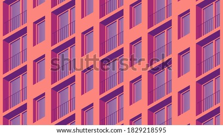 Vector isometric building facade detailed architecture illustration. Fragment of city building facade design with architecture elements, windows, balcony, etc. Facade is under mask.