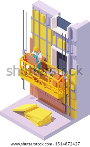 Vector isometric building facade insulation works. Mineral wool panels, suspended scaffold or construction cradle, worker in hardhat holding outdoor wall tile. External house insulation