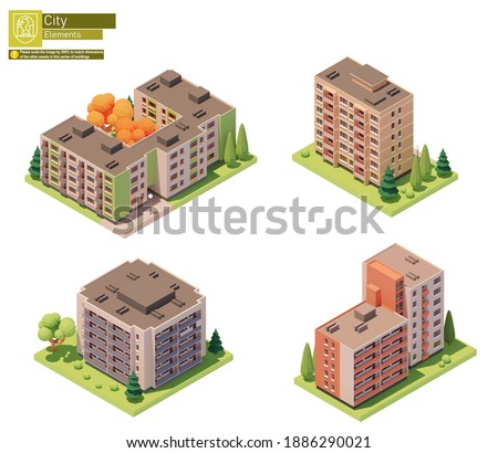 Vector isometric buildings and street elements set. Houses, homes and offices. Isometric city or town map construction elements