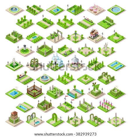 Vector Isometric buildings City Garden Park Furniture. Road Set Poster 3D City Map Element Infographic. Path Town Game Tile Garden Vector Park Town Isometric City Green. 3D Garden Game Icon Landscape