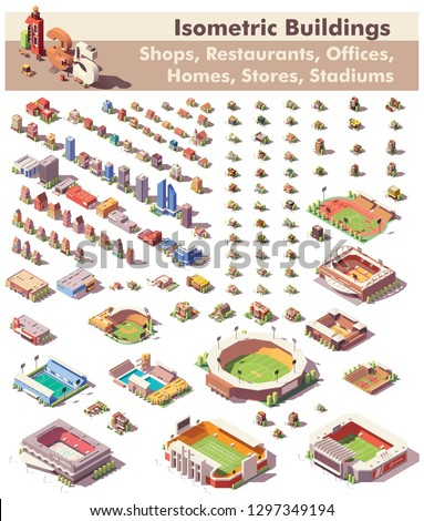 Vector isometric buildings collection. Includes homes, offices, stadiums, shops, supermarkets, restaurants, schools and gas station