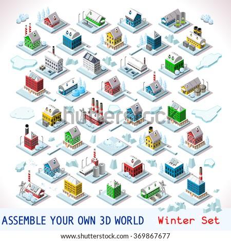 vector isometric buildings