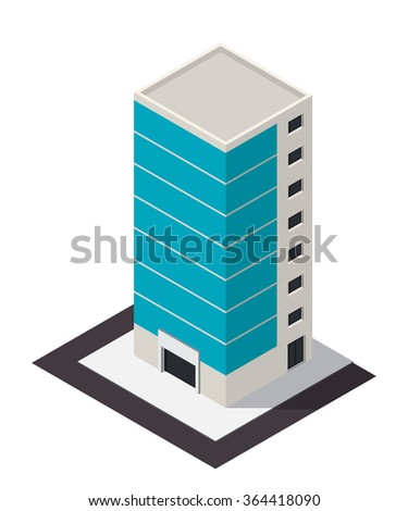 Vector isometric business center building icon. City map 3d element.