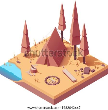 vector isometric campsite in