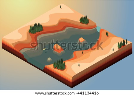 vector isometric canyon with