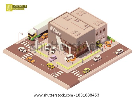 Vector isometric car dealership showroom and service station. New cars on the display and test drive automobiles. Customers watching at exhibition. Automobile repair and service area with workers