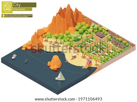 Vector isometric caravan or trailer park on the beach. Caravan camping resort. Seaside campground near mountains. Camping infrastructure, cottages, tents, trailers