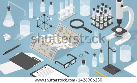 Vector isometric chemical laboratory illustration. Science experiment in process. Test tubes, microscope, bottles, chemistry equipment, glasses, molecular grid and magnifier. Foto stock ©