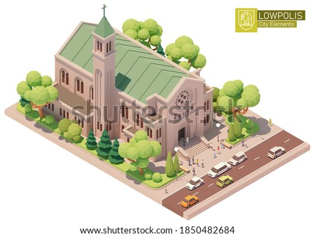 Vector isometric church building. Old church or cathedral, married couple after wedding ceremony, white limousine on street, green trees. Isometric city or town map construction elements