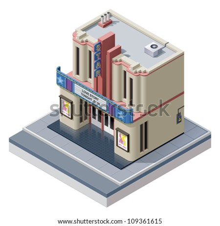 Vector isometric cinema building
