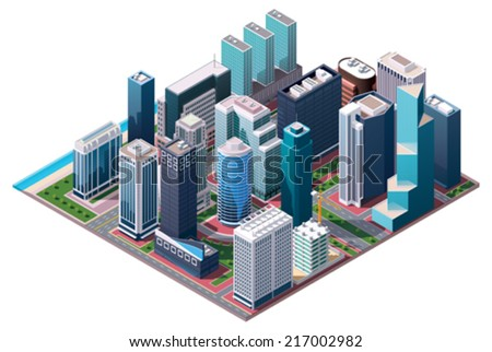 Vector isometric city center map with skyscrapers, offices and stores