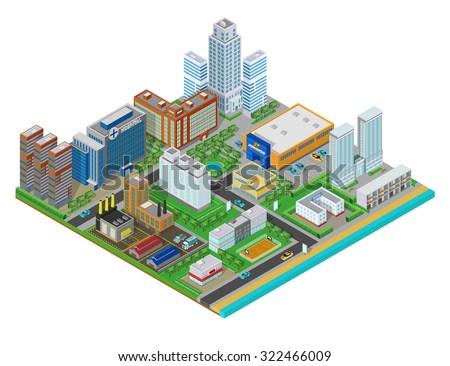 vector isometric city center