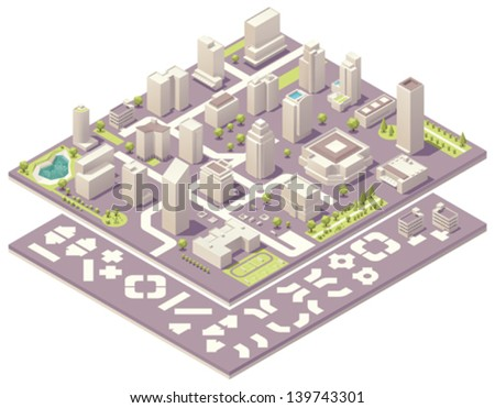 Vector isometric city map creation kit. Includes skyscraper buildings, offices, stores and road elements