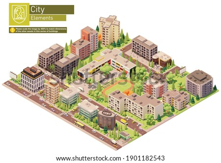 Vector isometric city or town block with school building. Buildings, houses, homes and offices. People and transport on the streets Foto d'archivio ©