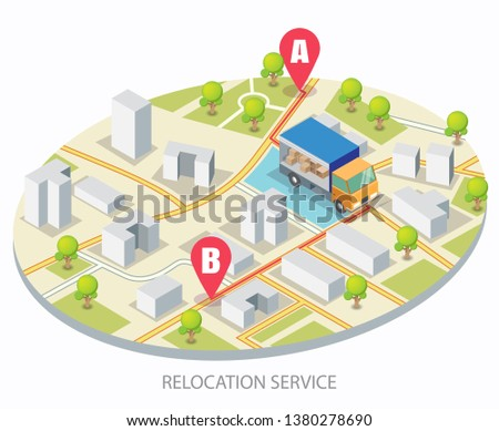 Vector isometric city road and delivery truck goes on the route from a to b location points. Relocation service concept for web banner, website page etc.