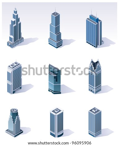 Vector isometric city skyscrapers buildings