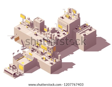 Vector isometric city with outdoor advertising examples like billboard and citylight on the streets, buildings, roads, in subway station, sports venue banners, shop signs, and other advertising media