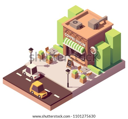 Vector isometric coffee shop or coffeehouse building with sale signboard, awning and outdoor table
