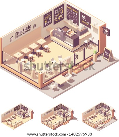 Vector isometric coffee shop or coffeehouse. Cafe interior with tables, seats, counter, cash register and blackboard menu