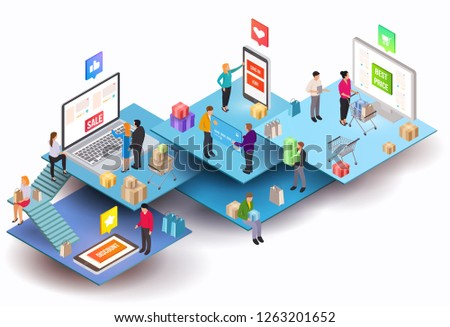 Vector isometric composition with electronic digital mobile devices and people. Colorful minimalistic concept for online shopping, marketing and e-commerce. Vivid business illustration.