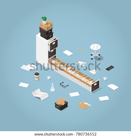 Vector isometric concept illustration. Opened file storage cabinet with lost of patients files and documents with medical office supplies around. Illustration of doctors office.