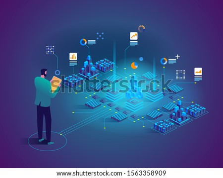 Vector isometric concept of Data analysis. Network mainframe infrastructure website layout. Technician in datacenter or data center room background. Computer storage or farming workstation.