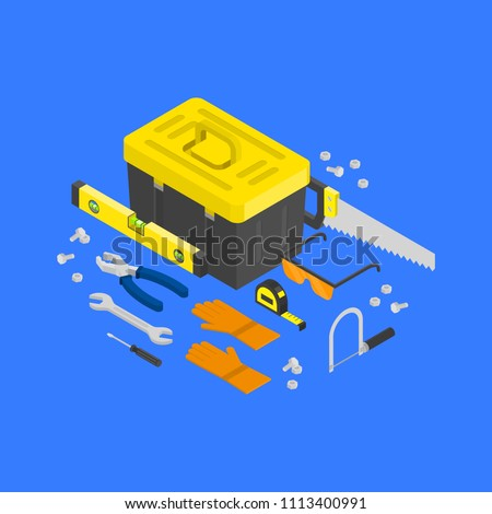 Vector isometric construction tools around toolcase concept. House remodeling equipment in isometry. 3D repair and building instruments. Helmet, pliers, axe, spanner and helmet objects illustration