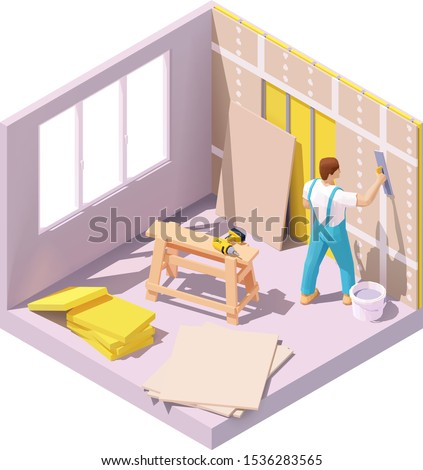 Vector isometric construction worker plastering gypsum board or plasterboard panels wall with trowel. Home interior drywall works, renovation or construction