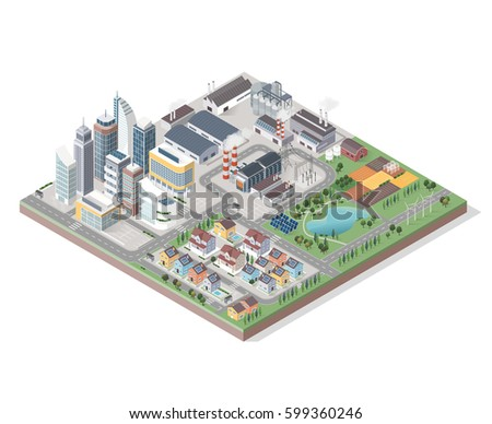 Vector isometric contemporary green city with buildings, streets and plants: commercial area, residential district, industrial park, farm and natural area
