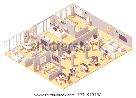 Vector isometric corporate office interior. Reception, conference room, presentation room, executive or CEO office, other workplaces with computers, office equipment and recreation area
