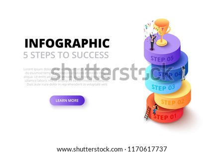 Vector isometric cylinders with people and gold cup for start up infographic. Growth concept with 5 steps, options, parts or processes.
