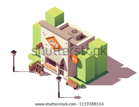 Vector isometric dairy store or milk shop with signboard and awning