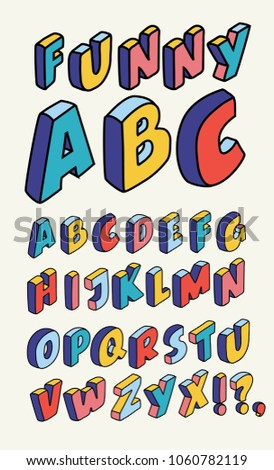 Vector Isometric design style alphabet. Letter and 3d alphabet, alphabet letters outline liner hand drawn, kids alphabet, abc and typography, type geometric text, typographic lettering illustration