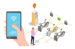 Vector isometric docking station with bicycles available for rent, payment terminal and man unlocking bike via smartphone. Bike sharing and rental mobile app concept for web banner, website page etc.