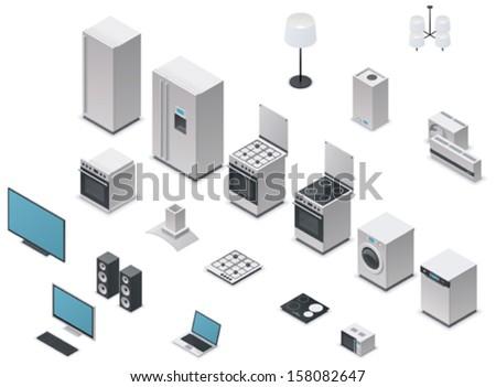 Vector isometric domestic appliances and electronics icon set - fridge, washing machine, dishwasher, oven, stove, tv, computer, audio speakers, microwave oven