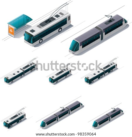 Vector isometric electric public transport - tramway trains, trolleybus, bus stop