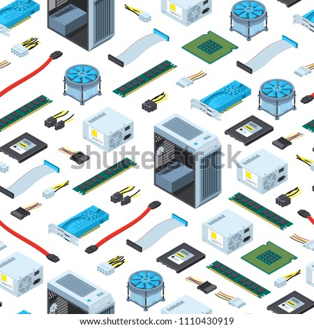 Vector isometric electronic devices background or pattern illustration. Computer equipment isometry, hardware and component