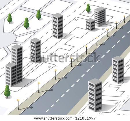 Vector isometric fantasy on the theme of urban
