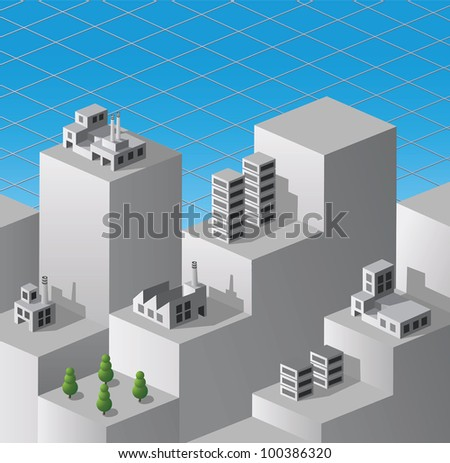 Vector isometric fantasy on the theme of urban industrial