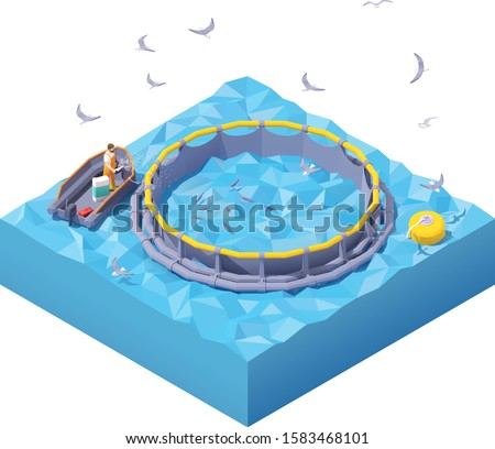 Vector isometric feeding fishes at fish farm. Fish farm worker in inflatable boat feeding fish throwing food into floating round fish cage in the sea
