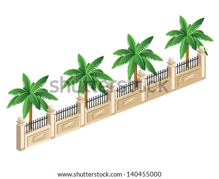 Vector isometric fence with palm trees