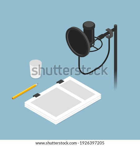 Vector isometric film dubbing studio vector concept illustration. Condenser microphone on stand with pop filter, script, pencil an paper cup. Stok fotoğraf ©
