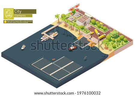 Vector isometric floating solar power plant. Floating photovoltaic solar farm construction and installation on water surface. Solar farm or station workers installing photovoltaic panel modules