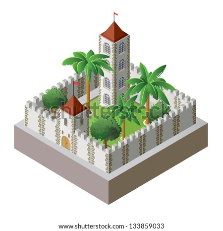 Vector isometric fortress surrounded by a wall with a garden