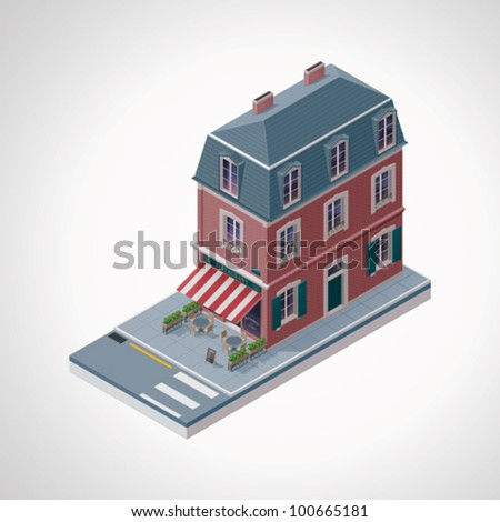 Vector isometric French cafe building with awning