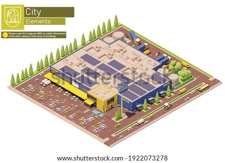 Vector isometric furniture, kitchen appliances and home decor store building. Supermarket, shopping mall or hypermarket building with warehouse and trucks