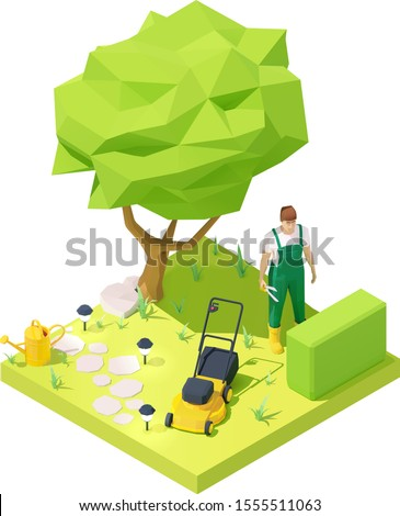 Vector isometric gardener working in garden. Gardening. Gardener in uniform with pruning shears, lawn mower, watering can on lawn with bush and tree