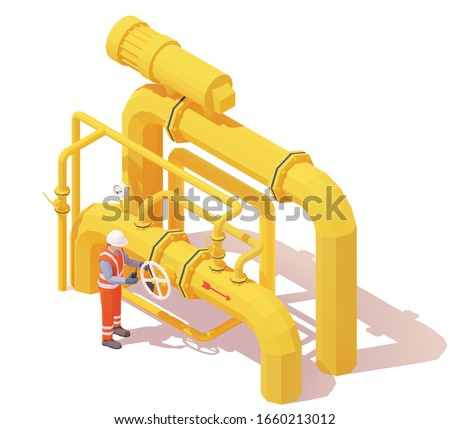 Vector isometric gas or oil production operator opens pipe valve. Yellow oil or gas pipes, manometer, valves, operator in workwear to open or close pipeline valve. Opening or closing pipeline valve