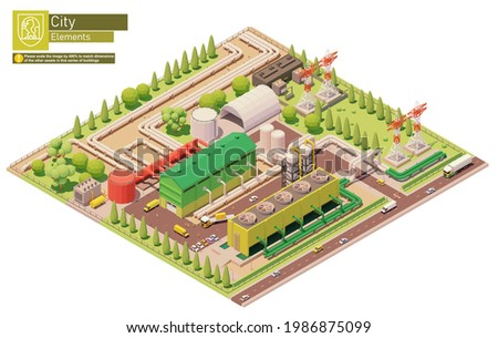 Vector isometric geothermal power station. Geothermal energy generation. Power plant with power lines and pipelines