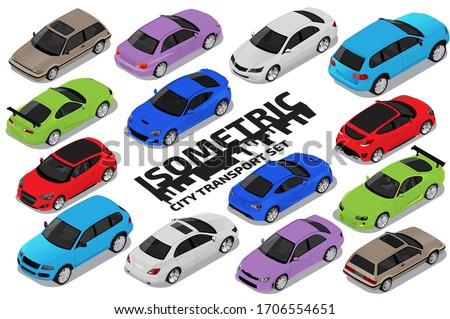 Vector isometric high quality transport set. Car icons Сток-фото ©